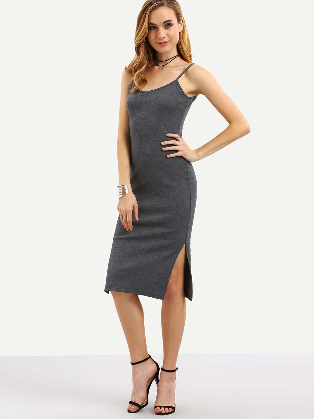 Grey Spaghetti Strap Split Side Dress