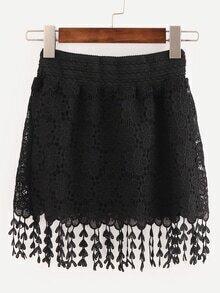 Black Elastic Waist Lace Crochet Fringe Skirt