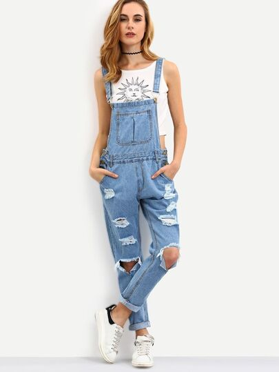 Blue Straps Ripped Denim Jumpsuit