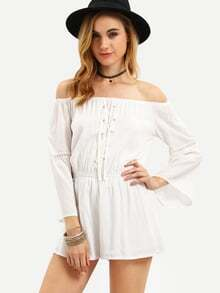 White Off The Shoulder Lace Up Romper