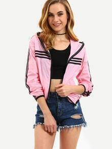 Pink Hooded Contrast Striped Trim Jacket With Zipper