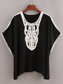 Black Contrast Crochet Trimmed Top