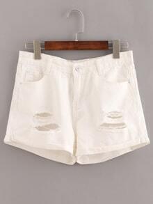White Ripped Cuffed Denim Shorts