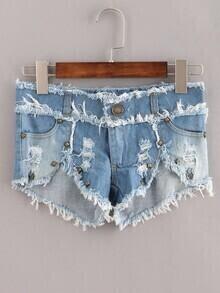 Blue Fringe Studed Denim Shorts
