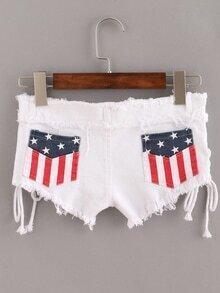 White Stars Fringe Lace Up Denim Shorts