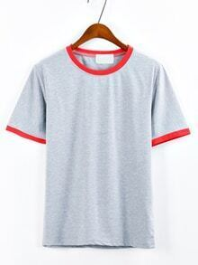 Grey Contrast Round Neck T-Shirt