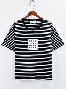 Black Contrast Striped Patch T-Shirt
