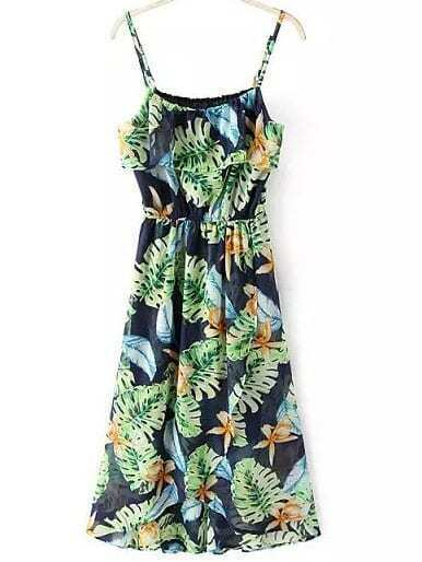 Multicolor Flower Print Elastic Waist Spaghetti Strap Dress