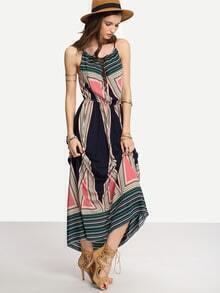 Robe longue imprimé géométrique -multicolore
