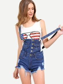 Buttoned Front Raw Hem Overall Blue Denim Shorts