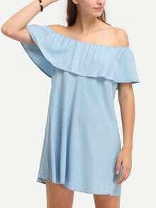 Light Blue Denim Off The Shoulder Ruffle Shift Dress