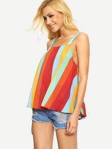 Multicolor Sleeveless Striped Backless Tank Top