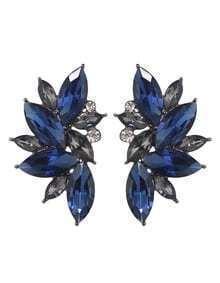 Blue Rhinestone Flower Shape Stud Earrings