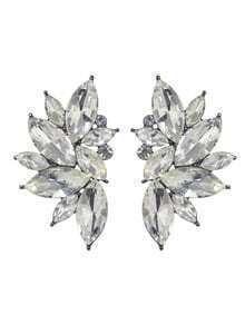 Aretes de diamante de imitación en forma de flor -blanco