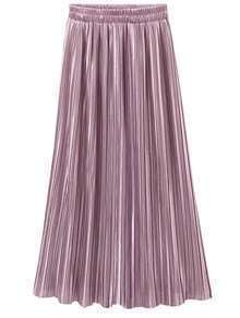 Pink Elastic Waist Pleated Skirt