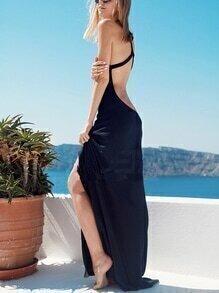 Black Halter Backless Split Maxi Beach Dress
