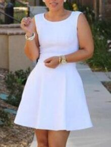 White Sleeveless Flare Dress With Zipper