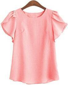 Pink Ruffle Sleeve Cute Shirt