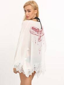 White Bell Sleeve Crochet Eagle Print Blouse