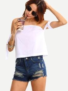Off The Shoulder Self-Tie White Top