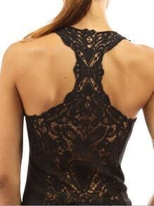 Black Hollow Out Crochet Y-back Top