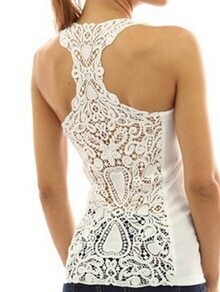 White Hollow Out Crochet Y-back Top