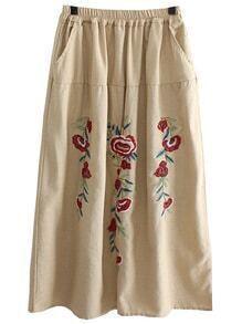 Flower Embroidered Elastic Waist Skirt - Beige