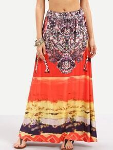 Multicolor Vintage Print Maxi Skirt