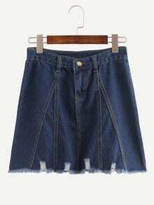 Blue Fringe Denim A-Line Skirt