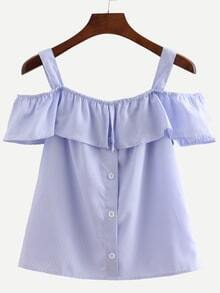 Blue Straps Vertical Striped Ruffle Shirt