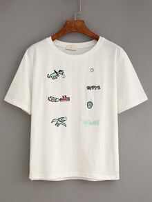 White Cartoon Embroidered T-Shirt