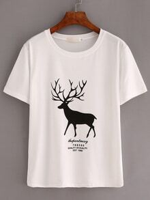 White Deer Print T-Shirt