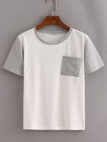 Contrast Short Sleeve Pocket T-Shirt