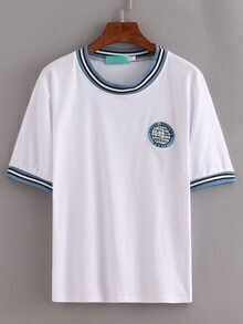 White Striped Trim Earth Embroidered T-Shirt