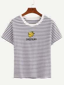 Striped Banana Embroidered T-Shirt