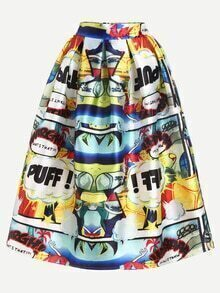 Multicolor Comic Print Box Pleated Midi Skirt