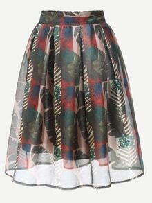Multicolor Tropical Print Box Pleated Skirt