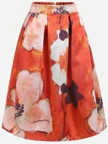 Flower Print Box Pleated Midi Skirt - Orange