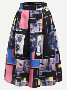 Multicolor Graphic Print Box Pleated Midi Skirt