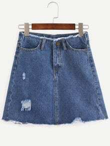 Frayed A-Line Blue Denim Skirt