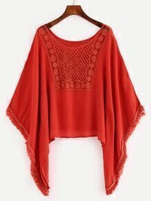 Lace Insert Tassel Trimmed Poncho Blouse - Red