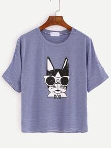 Cutout Shoulder Dog Print Blue Striped T-shirt