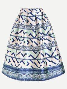 Geometric Print Box Pleated Midi Skirt - Blue