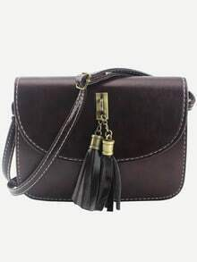 Tassel Embellished Flap Bag - Dark Brown