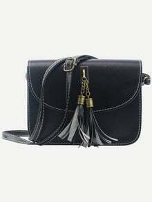 Tassel Embellished Flap Bag - Black