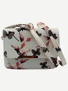 Flower & Butterfly Print Flap Bag - White