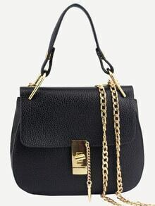 Faux Leather Handle Saddle Bag With Chain - Black