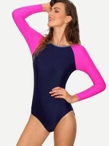 Contrast Raglan Sleeve One-Piece Swimwear - Navy