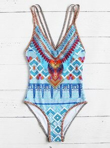 Crisscross Tribal Print One-Piece Swimwear - Light Blue