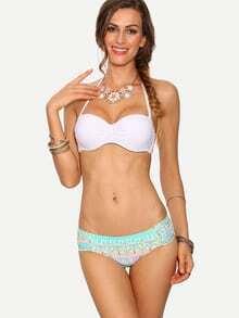 Contrast Vintage Print Ruched Bikini Set
